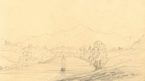 Alfred Swaine Taylor, Derwentwater & Skiddaw Lake District 1833 graphite drawing