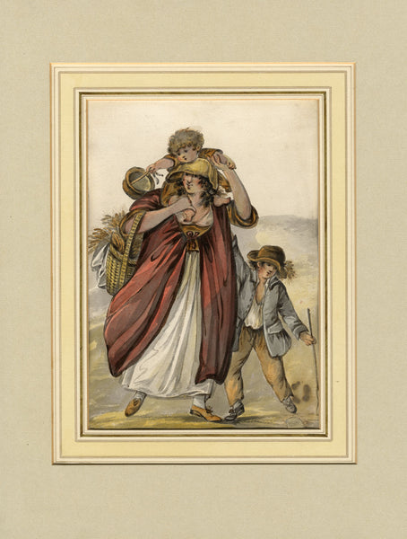 Circle of Robert Dighton, Peasant Mother & Children, c.1785 watercolour painting