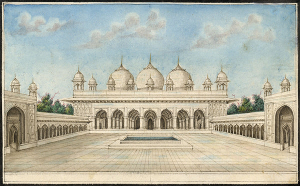 Moti Masjid Pearl Mosque, Agra Fort - Early 19th-century Indian Company painting