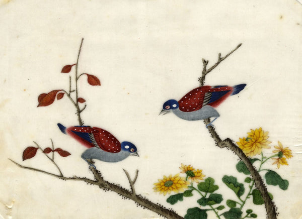 Antique 19th-century Chinese Pith Painting Chinese Painted Quail Birds & Blossom