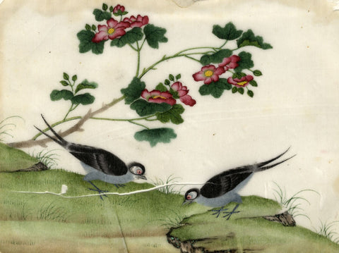 Antique 19th-century Chinese Pith Painting, Fork-Tailed Birds under Peony Flower
