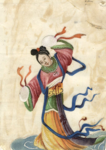 Antique 19th-century Chinese Pith Painting, Female Deity with Ribbons