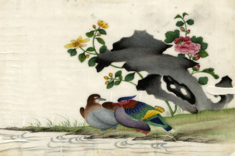 Antique 19th-century Chinese Pith Painting, Mandarin Duck Pair