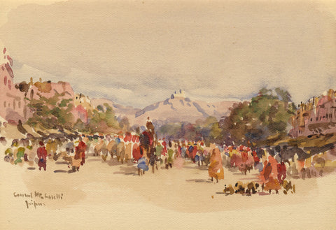 Conrad H.R. Carelli, Gangori Bazaar, Jaipur, India - 1908 watercolour painting