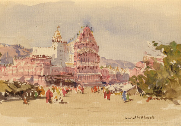 Conrad H.R. Carelli, Hawa Mahal Palace, Jaipur, India -1908 watercolour painting