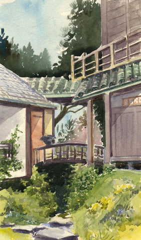 Japanese House, Saumarez Park, Guernsey -Early 20th-century watercolour painting