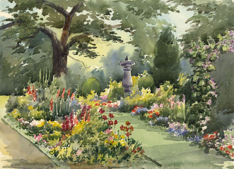 Gardens near Loch Fyne, Argyll & Bute - Early 20th-century watercolour painting
