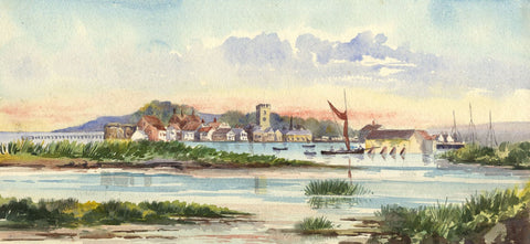 Estuary View with Church - Original early 20th-century watercolour painting
