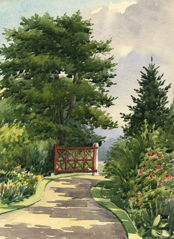 Garden Gate, The Towers, Windlesham, Surrey - Early 20th-century watercolour
