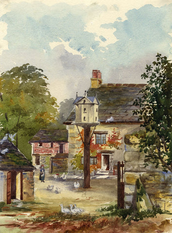 Yard with Chickens, Home Farm, Cirencester - Early 20th-century watercolour