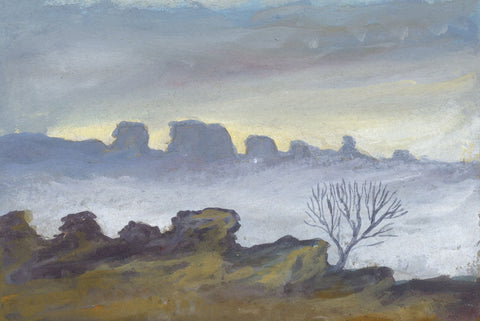 Victor Papworth, The Roaches in Mist, Peak District - 1970 gouache painting