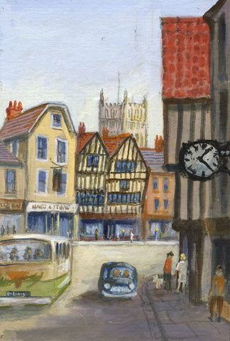 Victor Papworth, Abbey View, Tewkesbury - Original 1970 gouache painting