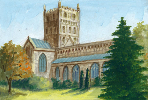 Victor Papworth, Tewkesbury Abbey - Original 1970 gouache painting