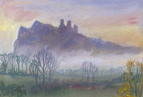 Victor Papworth, Misty View, Peak District - Original 1970 gouache painting