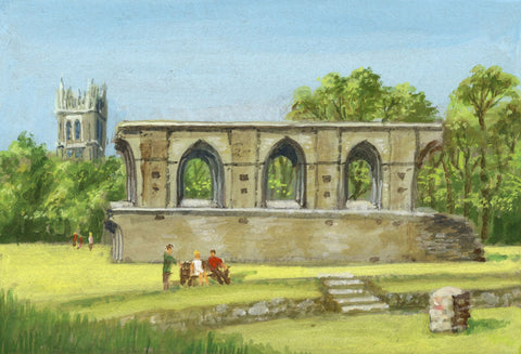 Victor Papworth, The Refectory, Glastonbury Abbey - 1970 gouache painting