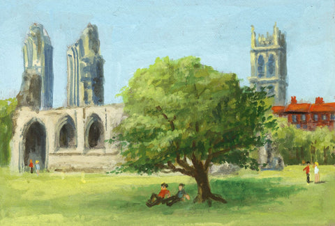 Victor Papworth, St John's Church from Glastonbury Abbey - 1970 gouache painting