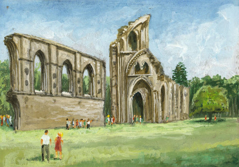 Victor Papworth, Glastonbury Abbey with Figures - Original 1970 gouache painting