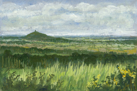 Victor Papworth, Glastonbury Tor from Bath Road - Original 1970 gouache painting