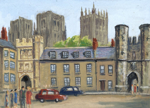 Victor Papworth, Bishop's Eye, Market Place, Wells - 1970 gouache painting