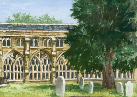 Victor Papworth, Cloisters, Wells Cathedral - Original 1970 gouache painting