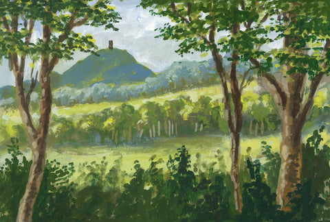 Victor Papworth, Glastonbury Tor from the Road to Wells - 1970 gouache painting