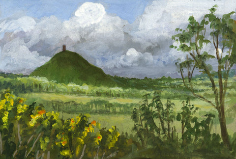 Victor Papworth, Glastonbury Tor - Original 1970 gouache painting