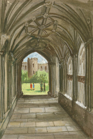 Victor Papworth, Cloisters, Wells Cathedral, Somerset - 1970 gouache painting