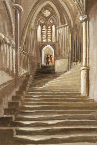 Victor Papworth, Chapter House Steps, Wells Cathedral - 1970 gouache painting