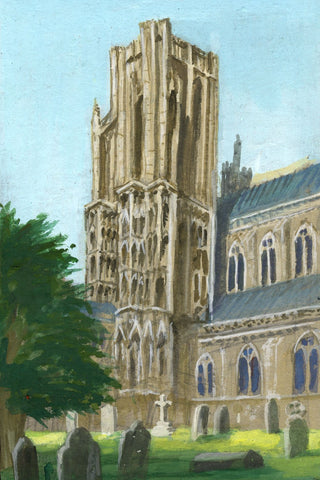 Victor Papworth, Harewell Tower Wells Cathedral - Original 1970 gouache painting