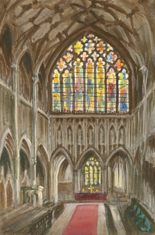 Victor Papworth, The Quire, Wells Cathedral - Original 1970 gouache painting