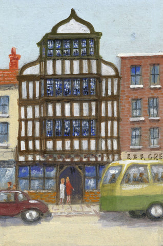 Victor Papworth, Half-timbered Building, Tewkesbury - 1970 gouache painting