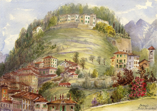F. Matthews, Hotel Serbelloni, Bellagio, Lake Como - 1895 watercolour painting