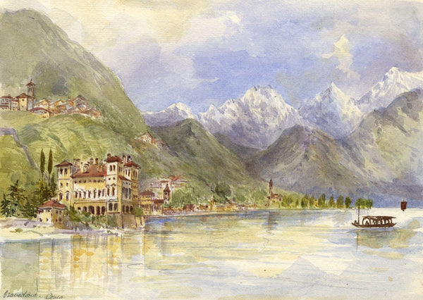 F. Matthews, Gallio Palace, Gravedona, Lake Como - 1895 watercolour painting