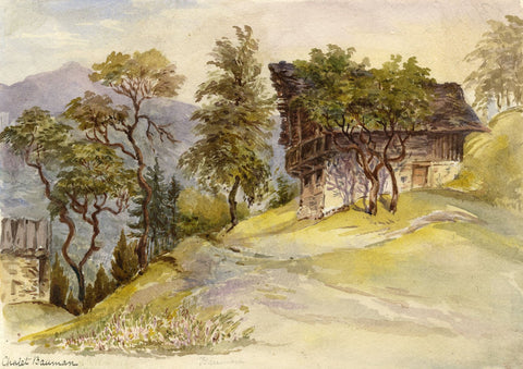 F. Matthews, Chalet Bauman, Choëx, Switzerland - 1898 watercolour painting