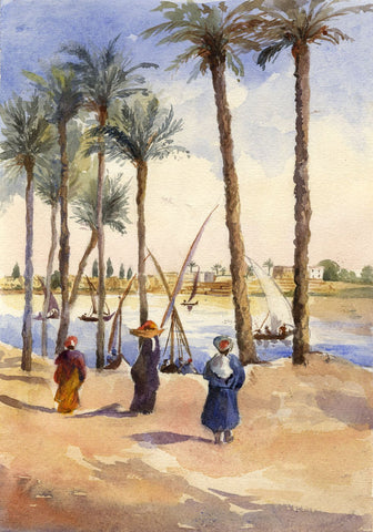 F. Matthews, Felucca Boats, Egypt - 1898 watercolour painting