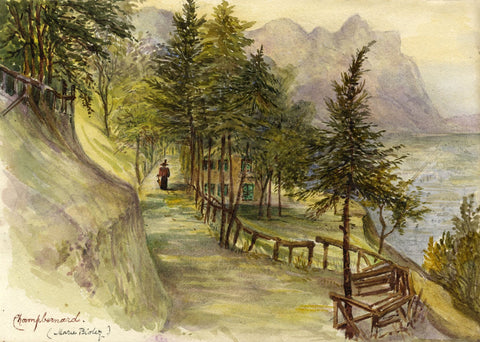 F. Matthews, Lady Walking at Champ Bernard, Choëx, Switzerland -1898 watercolour