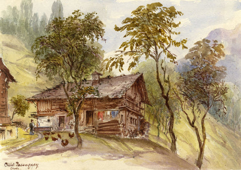 F. Matthews, Chalet Passaquey, Choëx, Switzerland - 1898 watercolour painting