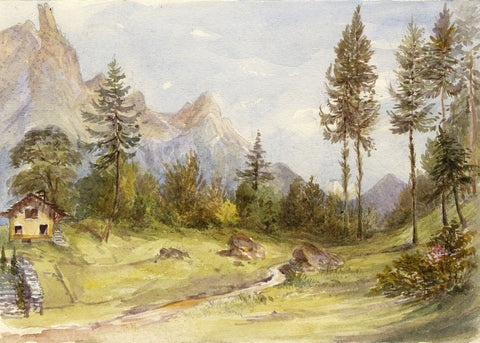 F. Matthews, Alpine Path with Chalet, Switzerland - 1898 watercolour painting