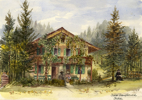F. Matthews, Chalet Champ Bernard, Choëx Switzerland - 1898 watercolour painting