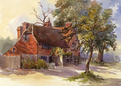 F. Matthews, Tudor Red Brick Cottage - 1898 watercolour painting