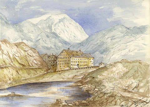 F. Matthews, Great St Bernard Hospice, Switzerland - 1898 watercolour painting