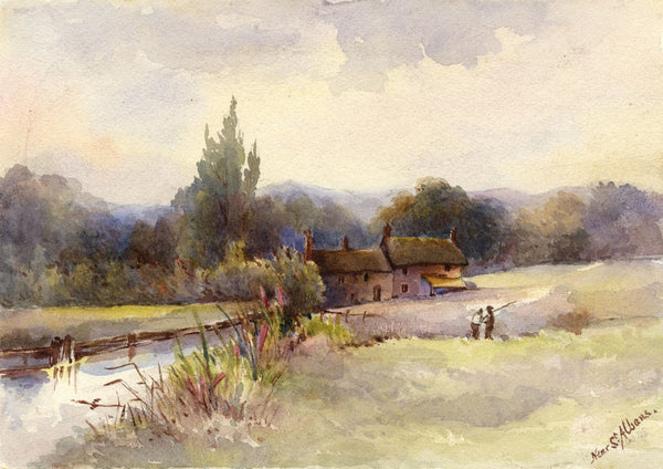 F. Matthews, Cottages on River Ver near St Albans - 1898 watercolour painting