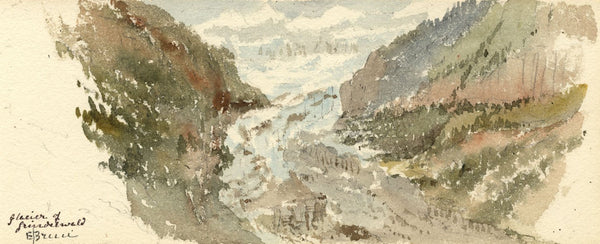 Emily Bruce, Glacier of Grindelwald, Switzerland - 1873 watercolour painting