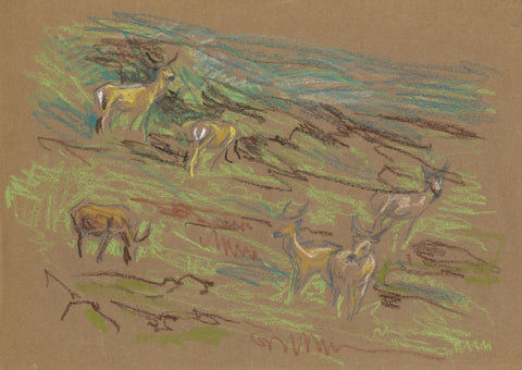 John Murray Thomson RSA, Stags - Original mid-20th-century pastel drawing