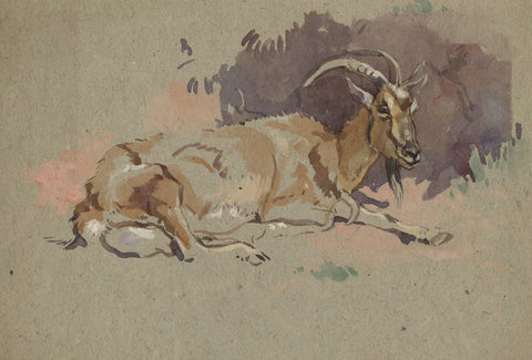 John Murray Thomson RSA, Goat with Horns - mid-20th-century watercolour painting