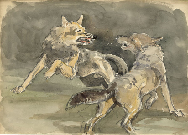 John Murray Thomson RSA, Fox Fight - mid-20th-century watercolour painting