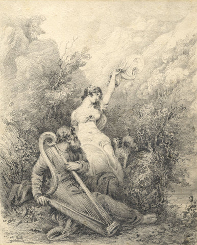 Irish Bard Playing Harp with Lady & Dog, Clonmell - 1812 graphite drawing