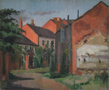Yard, Three Swans Hotel, Market Harborough - Original 1945 oil painting