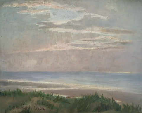 Leclercq , Sea View from the Dunes - Original mid-20th-century oil painting