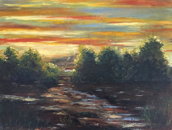 J.A. Rickard, Sunset across the Landscape - Original 1970s/80s oil painting